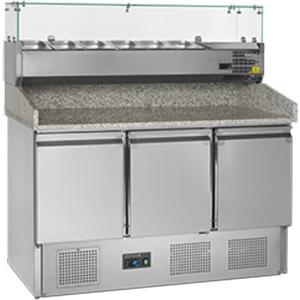 Стол холодильный для пиццы, GN1/1, L1.37м, борт H150мм, 3 двери глухие, ножки, +2/+10С, нерж.сталь, стат.охл.+вент., агрегат нижний, витрина 6GN1/4, г