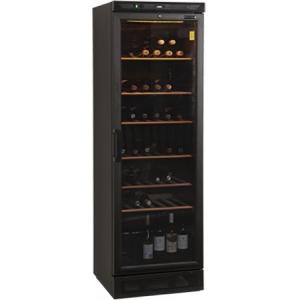 Шкаф холодильный д/вина, 118бут. (372л), 1 дверь стекло, 6 полок, ножки+колеса, +6/+18С, стат.охл., чёрный, R600a