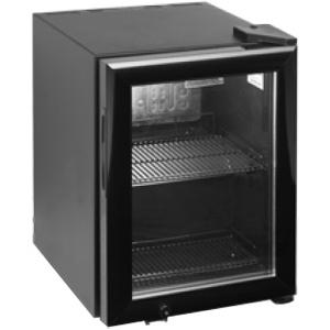 Шкаф холодильный д/напитков (минибар),  22л, 1 дверь стекло, 2 полки, ножки, +2/+10С, стат.охл.+вент., черный, R600a