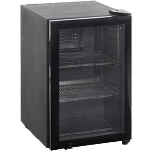 Шкаф холодильный д/напитков (минибар),  67л, 1 дверь стекло, 3 полки, ножки, +2/+10С, стат.охл.+вент., черный, R600a