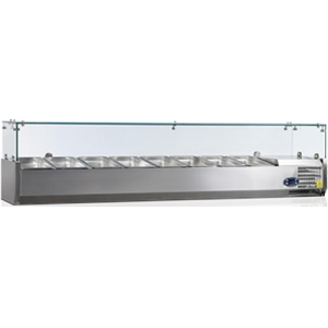 Витрина холодильная настольная, горизонтальная, для топпингов, L1.80м, 8GN1/4, +2/+10С, стат.охл., нерж.сталь, верхняя структура стекло, ножки, R600a