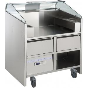 Прилавок передвижной, д/нагляд.кулинарии, вместимость 2 агрегата 220В; 4GN1/9-65, 2 подставки д/GN1/9, 2 охлаждаемых ящика