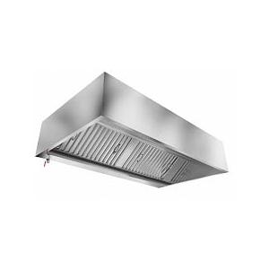 Зонт вытяжной пристенный,  900х1200х400мм, лаб.фильтры, коробчатый, нерж.сталь, подсветка, без отверстия