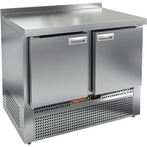 Стол морозильный, GN1/1, L1.00м, борт H50мм, 2 двери глухие, ножки, -10/-18С, нерж.сталь, дин.охл., агрегат нижний, усиленная столешница