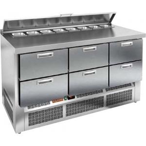 Стол холодильный саладетта, GN2/3, L1.49м, борт H50мм, 6 ящиков, ножки, +2/+10С, нерж.сталь, дин.охл., агрегат нижний, гнездо 8GN1/6, крышка