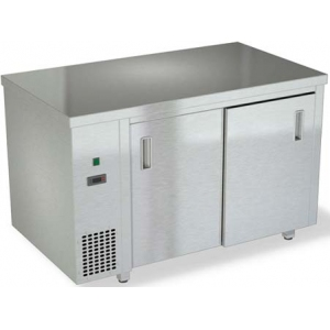 Стол тепловой раздаточный, 1000х600х850мм, без борта, закрытый, двери-купе, нерж.сталь 430, задняя стенка нерж.сталь 430