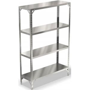 Стеллаж кухонный, 1200х400х1600мм, 4 полки сплошные нерж.сталь 430, разборный, стойки уголок оцинк.сталь