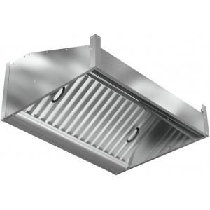 Зонт вытяжной пристенный, 1000х800х400мм, лаб.фильтры, кепкой, нерж.сталь, без подсветки, без отверстия