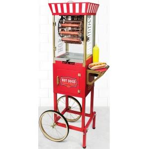 Аппарат для хот-догов карусельный, напольный, камера для сосисок (8шт.), камера для булочек, электромех.управление, корпус нерж.сталь, тележка красная