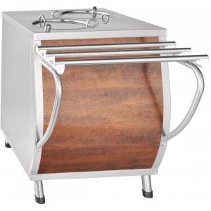 Диспенсер для тарелок подогреваемый, L0.63м, 2 цилиндра 40шт. (D240мм), стенд закрытый, кашир.металл «дуб»