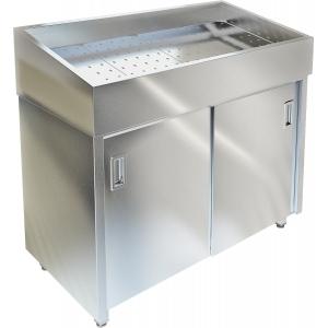 Витрина нейтральная напольная, горизонтальная, для выкладки соков на льду, L1.20м, нерж.сталь, двери-купе, без агрегата (Уценённое)