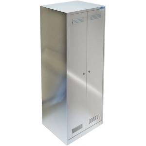 Шкаф для одежды,  600х500х1750мм, 2 секции, 2 двери распашные, 4 полки, крючки, 2 замка, краш.металл серый, сварной
