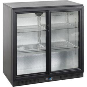 Стол холодильный для напитков, 196л, 2 двери-купе стекло, 4 полки 395х330мм, ножки, +2/+10С, чёрный, дин.охл., подсветка, R600a