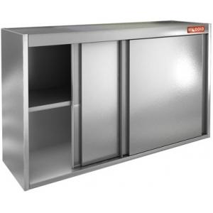 Полка настенная, 1000х300х600мм, 2 уровня сплошных, закрытая, двери-купе, нерж.сталь