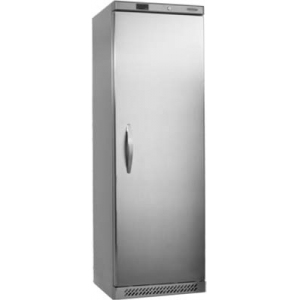 Шкаф холодильный,  374л, 1 дверь глухая, 4 полки, ножки, +2/+10С, стат.охл.+вент., нерж.сталь, R600a