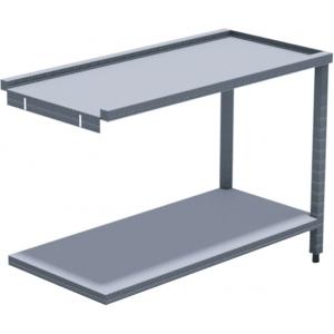 Стол выходной для машин посудомоечных HT, L1.20м, 3 борта, 1 полка сплошная, 2 ножки, нерж.сталь