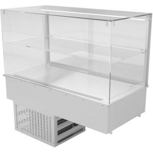 Витрина холодильная встраиваемая, горизонтальная, L1.20м, +8/+12С, дин.охл., нерж.сталь, 1 полка, стекло прямое