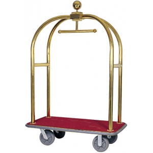 Тележка для багажа «птичья клетка», каркас нерж.сталь «под золото», платформа дерево «красный мебельный плюш»