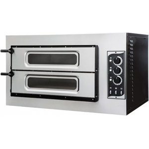 Печь для пиццы электрическая, подовая, 2 камеры  620х500х120мм, 2 пиццы D320мм, электромех.управление, двери стекло, под камень