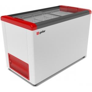Ларь морозильный, 380л, 2 крышки стеклянные плоские раздвижные, -12/-25С, 4 корзины, колеса, белый, R134a, замок, отделка красная