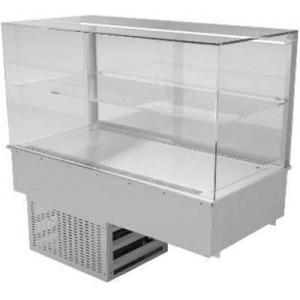 Витрина холодильная встраиваемая, горизонтальная, L0.80м, +8/+12С, дин.охл., нерж.сталь, 1 полка, стекло прямое закаленное OptiWhite 8мм, УФ склейка