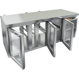 Стол холодильный сквозной, GN1/1, L1.84м, без борта, 6 дверей стекло, ножки, +2/+10С, нерж.сталь, дин.охл., агрегат справа