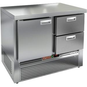 Стол холодильный, GN2/3, L1.00м, без борта, 1 дверь глухая+2 ящика, ножки, -2/+10С, нерж.сталь, дин.охл., агрегат нижний