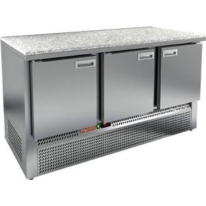 Стол холодильный, GN1/1, L1.49м, без борта, 3 двери глухие, ножки, -2/+10С, нерж.сталь, дин.охл., агрегат нижний, гранит.пов.