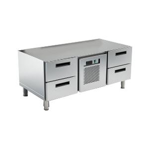 Стол холодильный низкий, L1.40м, без столешницы, 4 ящика, ножки 140мм, +2/+10С, нерж.сталь, агрегат центр.