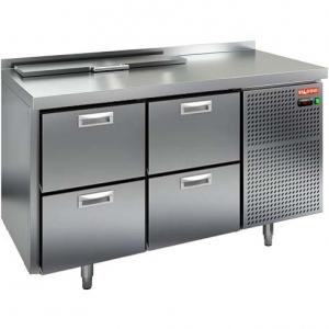 Стол холодильный саладетта, GN1/1, L1.39м, борт H50мм, 4 ящика, ножки, +2/+10С, нерж.сталь, дин.охл., агрегат справа, 5GN1/6, крышка, ус.ст.