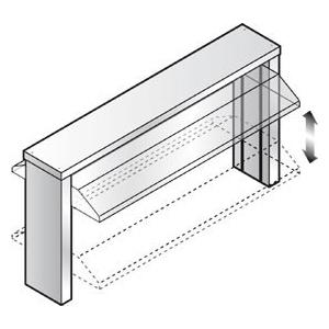 Полка верхняя для прилавка 3GN1/1, L1.12м, стеклянная подъемная крышка