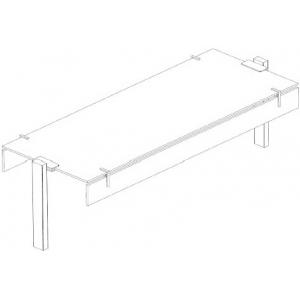 Полка верхняя стеклянная для прилавка 4GN1/1, L1.44м, прямая, Т-образная, фронтальный и задний козырьки