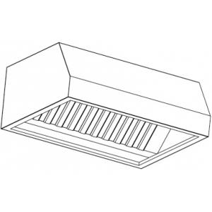 Зонт вытяжной пристенный, 2200х1200х400мм, лаб.фильтры, коробчатый, нерж.сталь, без подсветки, 2 отверстия, съемный фланец, стойки (б/у (бывший в упот