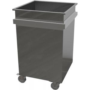 Бак для пищевых продуктов передвижной,  800х500х700мм, 200л, нерж.сталь 430, сварной