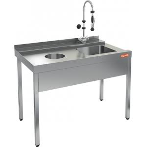 Стол входной для машин посудомоечных, L1.20м, 1 борт, 4 ножки, мойка 400х400х250мм, левый, нерж.сталь, отв.для отходов слева, фартук