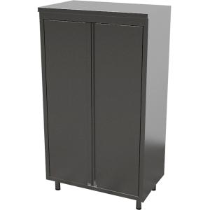 Шкаф кухонный, 1000х700х1800мм, 2 двери распашные, 3 полки сплошные, нерж.сталь 430, сварной