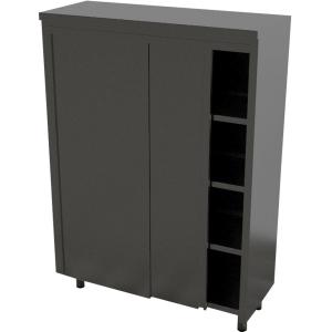 Шкаф кухонный, 1000х600х1800мм, 2 двери-купе, 3 полки сплошные, нерж.сталь 430, сварной