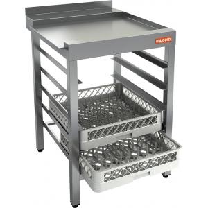 Стол выходной для машин посудомоечных, L0.60м, 1 борт, направляющие для 5 корзин, нерж.сталь 430, правый
