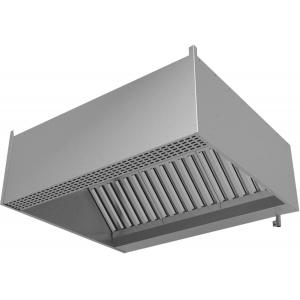 Зонт приточно-вытяжной пристенный,  800х800х400мм, лаб.фильтры, коробчатый, нерж.cталь 430, подсветка, без отверстия