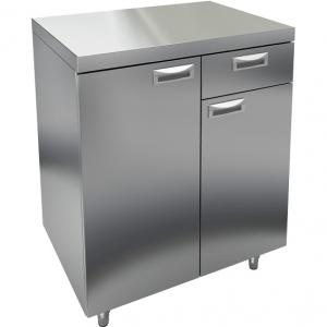 Модуль барный нейтральный для кофемашин,  800х500х850мм, без борта, 2 двери, 1 ящик, ножки, нерж.сталь