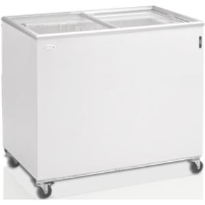 Ларь морозильный, 296л, 2 крышки стеклянные плоские раздвижные, -14/-24С, 1 корзина, колеса, белый, стат.охл., R290