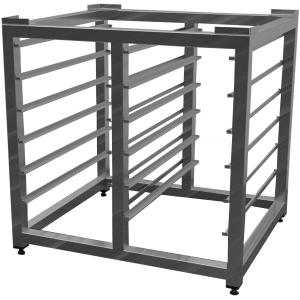 Подставка под пароконвектомат,  900х900х700мм, без столешницы, открытая, обвязка с 4-х сторон, нерж.сталь 430, сварная, 2х5 пар направл. для GN1/1,уг.
