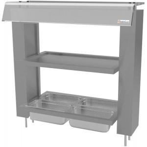 Диспенсер для столовых приборов, хлеба и подносов, L0.65м, 4GN1/4, встраиваимый, полка