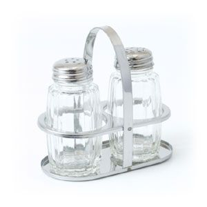 Набор для специй (2 предмета) на подставке (соль, перец), стекло/нер