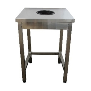 Стол производственный для сбора отходов,  700х600х850мм, без борта, открытый, обвязка с 3-х сторон нерж.430, сварной, труба нерж.430, отв.D200мм цент