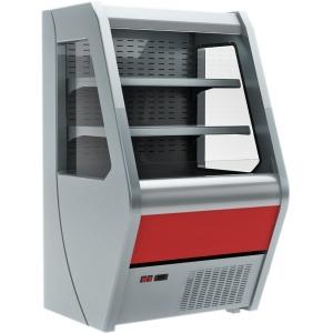 Витрина холодильная напольная, горизонтальная, для самообслуживания, L0.74м, 2 полки, +2/+7С, дин.охл., серая+красная, фронт открытый, усил.боков.,цен