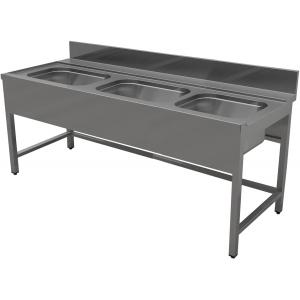 Стол входной для машин посудомоечных, L1.50м, 1 борт, 4 ножки, 3 мойки 400х400х250мм, левый, нерж.сталь 430, сварной, обвязка с 3-х сторон, фартук фр