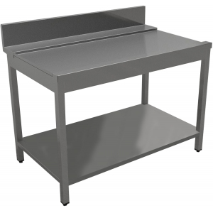 Стол входной-выходной для машин посудомоечных, L0.40м, 1 борт, левый, нерж.сталь 430, сварной, 1 полка сплошная