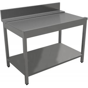 Стол входной-выходной для машин посудомоечных, L0.50м, 1 борт, левый, нерж.сталь 430, сварной, 1 полка сплошная