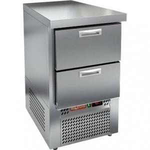 Стол морозильный, GN1/1, L0.57м, без борта, 2 ящика, ножки, -10/-18С, нерж.сталь, дин.охл., агрегат нижний, задняя стенка нерж.сталь